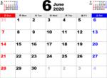 2020年6月 カレンダー