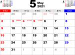 2021年5月 カレンダー