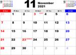 2021年11月 カレンダー