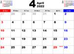 2022年4月 カレンダー