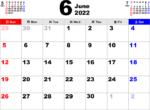 2022年6月 カレンダー
