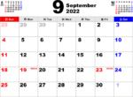 2022年9月 カレンダー