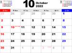 2022年10月 カレンダー