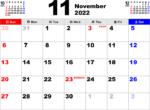2022年11月 カレンダー