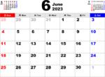 2023年6月 カレンダー