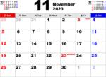 2023年11月 カレンダー